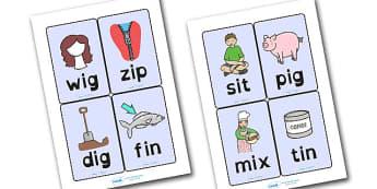 CVC Word Cards I Dyslexia - cvc word cards, cvc word cards in dyslexia font, cvc dyslexia word cards, cvc i word cards, dyslexic font cvc i word cards, sen