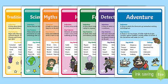 Story Genres Display Posters Pack - story genres, story genres posters, book genres posters, genres posters, story type posters, ks2 story genre posters
