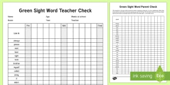 Green Reading Sight Words Checklist - Literacy, Reading, Green Sight Words, Colour Wheel, english, new zealand, nz