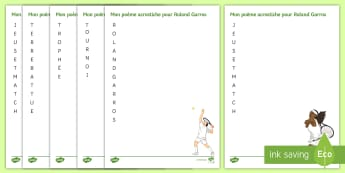 Roland Garros-Themed Acrostic Poem French - French Open, KS3, Tennis, Tournoi, Acrostic, Poems, Writing, Creative