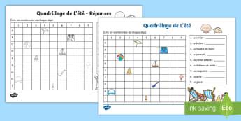 Feuille d'activités : Quadrillage de l'été - Mathématiques, KS1, cycle 2, grid, quadrillage, coordonnées, coordinates, summer, été,French