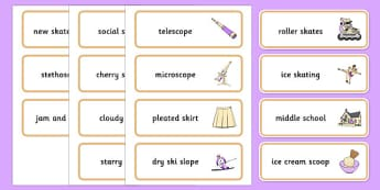 Word Medial SC SK Word Cards Three Syllable Words - speech sounds, phonology, articulation, speech therapy, cluster reduction