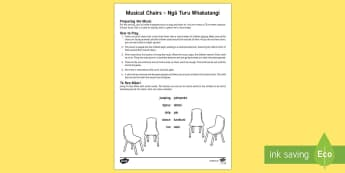 Musical chairs English/Te Reo Māori - New Zealand, Back to School, game, activity, group play, group learning, mat time, chair, sit, seat, - New Zealand, Back to School, game, activity, group play, group learning, mat time, chair, sit, seat,