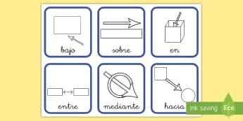 Tarjetas educativas: Preposiciones con símbolos - preposiciones, preposición, tarjetas educativas, vocabulario, dentro, hacia, hasta, entre, lengua,