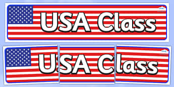 USA Themed Classroom Display Banner - Themed banner, banner, display banner, Classroom labels, Area labels, Poster, Display, Areas