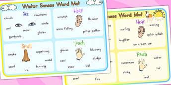 Winter Senses Word Mat Temperate - seasons, weather, keywords