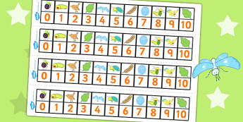 Number Track 0-10 to Support Teaching on The Crunching Munching Caterpillar - counting