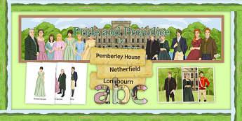Pride and Prejudice Display Pack - Pride and Prejudice, GCSE, English Literature, Jane Austen, AQA, EDEXCEL, WJEC, OCR, reading, nineteenth century prose