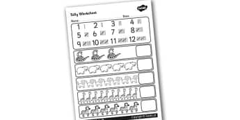 Tally Worksheet - tally, worksheet, graphs, maths, numeracy, numbers, numeracy activities, numeracy worksheets, worksheets, tally sheets, maths worksheets