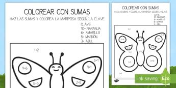 Colroear con números: Sumas hasta 10 - Bichos - mariposa, bichos, colorear, colores, pintar, colorear con números, clave, color, sumas, sumar, adic