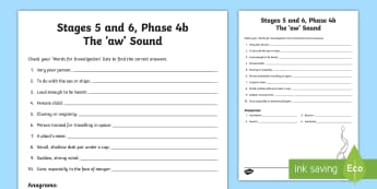 Northern Ireland Linguistic Phonics Stage 5 and 6, Phase 4b, 'aw' Sound Word Work Activity Sheet - NI, Linguistic Phonics, Stage 5, Stage 6, Phase 4b, Northern Ireland, 'aw' sound, word work, ana