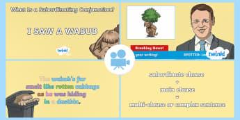 Spag-tastic!: I SAW A WABUB (What Is a Subordinating Conjunction?) Video1 - subordinating conjunction, conjunction, subordination, subordinate clause, SPaG, GPS, wabub, video,