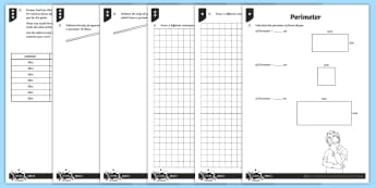 PlanIt Y3 Measurement Perimeter Home Learning Tasks - perimeter, measurement, 2D shapes, Y3, Ks2, Maths, measure, length, centimetres, perimeter, measure