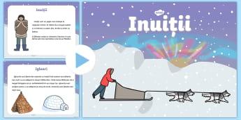 Inuiții - Prezentare PowerPoint - eschimoși, inuiți, iarna, materiale, română, prezentare, fișe, fise,Romanian