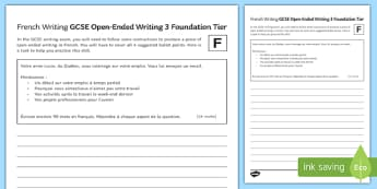 GCSE French Open Ended Writing 3 Foundation Tier Activity Sheet-French