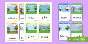 Tarjetas de vocabulario: Los meses del año - tarjetas, vocabulario, mes, meses, año, calendario, tiempo, estaciones, enero, febrero, marzo, abri