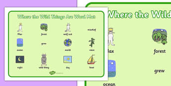 Word Mat (Images) to Support Teaching on Where the Wild Things Are - Where the Wild Things Are, Maurice Sendak, Wild Things, resources, Max, wild rumpus, boat, wolf suit, dream, fantasy, story, story book, story book resources, story sequencing, stor