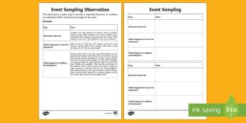 ECE Event Sampling Observation Record - New Zealand Back to School,Observation,Template,Behaviour,Event sampling,child interactions