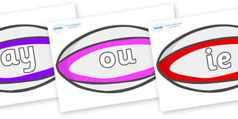 Phase 5 Phonemes on Rugby Balls - Phonemes, phoneme, Phase 5, Phase five, Foundation, Literacy, Letters and Sounds, DfES, display