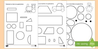 Costruisci con le Forme Attività - geometrica, forme, geometriche, cerchio, ovale, costruire, italiano, italian
