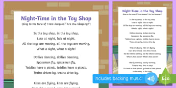 Night-Time in the Toy Shop Song - EYFS, Early Years, Toys, toy shop, magic, teddy bear.