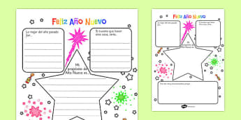 New Year's Resolution Writing Frame Spanish - EAL, translated, goals, targets