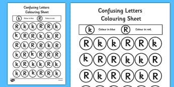 Confusing Letters Colouring Worksheets K and R - confusing letters, colouring, worksheet, k, r