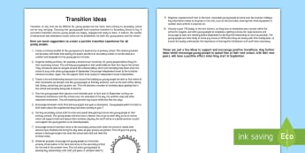 Transition Ideas Guide - Young People & Families Case File Recording, referral, chronology, contents page,buddy system, safeg