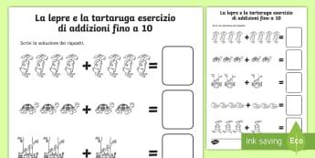 La lepre e la tartaruga addizioni fino a 10 Attività - addizioni, matematica, contare, numeri, materiale, scolastico, italiano, italian, lepre, e la, tarta