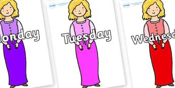 Days of the Week on Rapunzel Short Hair - Days of the Week, Weeks poster, week, display, poster, frieze, Days, Day, Monday, Tuesday, Wednesday, Thursday, Friday, Saturday, Sunday