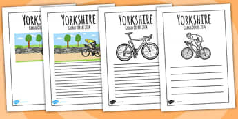 Yorkshire Grand Depart Writing Frames - tour de france, write