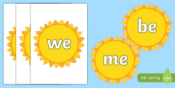 Phase 3 Tricky Words on Suns - phase three, phase 3, tricky words, suns, display