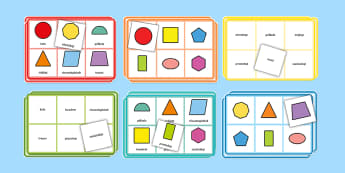 Bingo Własności figur geometrycznych - bingo, gra, zabawa, planszowa, planszówka, granie, zagraj, własności, figur, figury, figura, geom