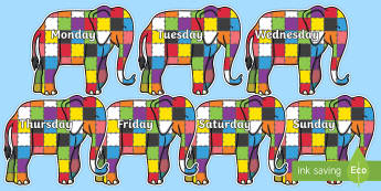 Days of the Week on Grey Elephant to Support Teaching on Elmer - Days of the Week, Weeks poster, week, display, poster, frieze, Days, Day, Monday, Tuesday, Wednesday, Thursday, Friday, Saturday, Sunday