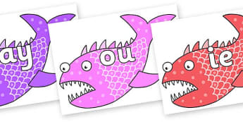 Phase 5 Phonemes on Fish to Support Teaching on Sharing a Shell - Phonemes, phoneme, Phase 5, Phase five, Foundation, Literacy, Letters and Sounds, DfES, display
