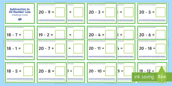 Subtraction Up to 20 with a Number Line Challenge Cards - subtraction, up to 20, number line, challenge cards, challenge, cards