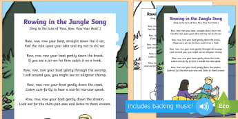 Rowing in the Jungle Song - Jungle and Rainforest, forest, amazon, river, stream, animal songs, singing, song time,