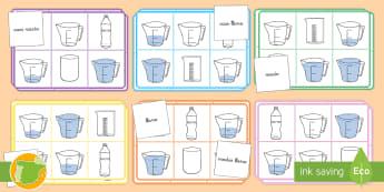 Bingo: Palabras de capacidad - CI - medida, capacidad, mates, medir medida, medir capacidad, lleno, vacio, volumen, bingo, juego, empare