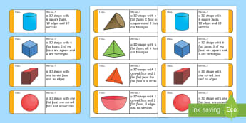 KS1 3D Shape Riddle Loop Cards - Shape Riddles, Riddles, Riddle, Loop Cards,Maths, Numeracy, Shapes, 3D shapes, 3 Dimensional Shapes,