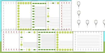 Wimbledon Full Page Borders - wimbledon, wimbledon page borders, wimbledon championships, wimbledon writing, tennis, wimbledon writing frames