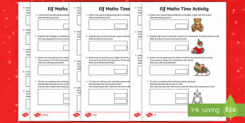Elf Time Problems Differentiated Activity Sheets - LKS2, maths, Christmas, time, analogue, digital, 12-hour clock, 24-hour clock, elf, lower key stage