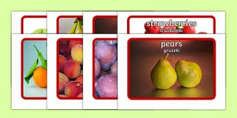 Fruit Flashcards Polish English Polish Translation-Polish-translation