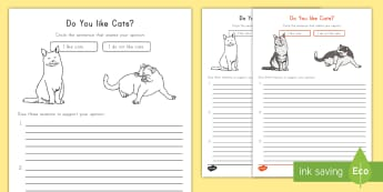 Do You like Cats? Opinion Writing Template - Cats, Common Core, ELA, Opinion Writing, Supporting Details