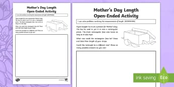 Year 4 Mother's Day Length Open-Ended Activity Sheet - Mother's Day Maths, maths, mother, mother's day, mum, addition, subtraction, length, measuring, me