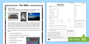 Practice Reading Tests Year 2 & 3 The Bible Activity Booklet - Procedural Examples, tests, test, Numeracy Tests, procedural,  Years 5, years 6, Deunyddiau Sampl Gw