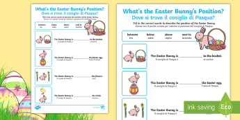 Foundation Easter Position Activity Sheet English/Italian - Australia Easter Maths, easter, australia, mathematics, measurement and geometry, location and trans