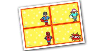 Editable Challenge Cards Superheroes - editable challenge cards, challenge cards, blank cards, superhero cards, editable superhero cards, superhero theme