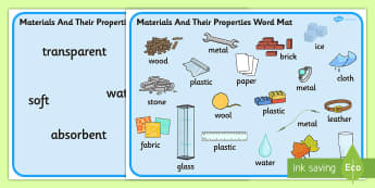 Materials And Their Properties Word Mats - materials, properties