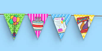 5th Birthday Party Picture Bunting - 5th birthday party, 5th birthday, birthday party, picture bunting, display, bunting