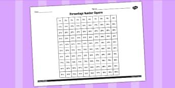 Percentage Number Square Worksheet - worksheet, percent, number